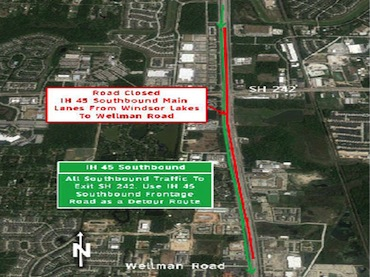 Major Lane Closures: All I-45N southbound lanes closed Fri-Mon, Oct  24 - 27