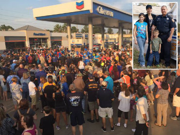 Hundreds pay respect at Chevron gas station where Deputy Goforth was gunned down